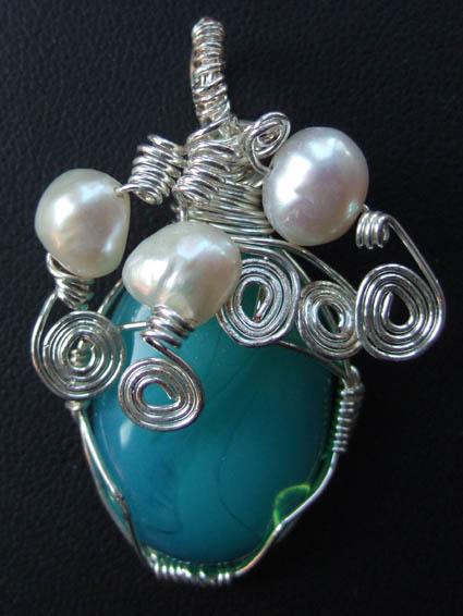 Turquoise wire wrap pendant