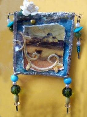 Landscape brooch with roses