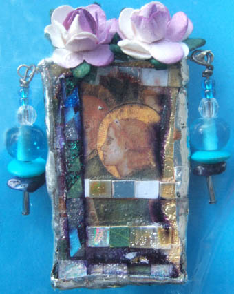 Icon brooch with beads and roses