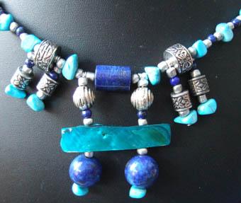 Turquoise, Lapis Lazuli and Paui necklace