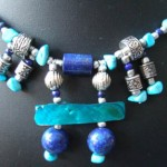 Lapis Lazuli, Turquoise, Pearl and Paui necklace