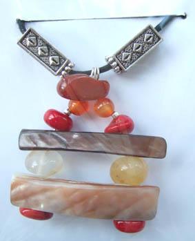 Carnelian, Coral and Paui pendant