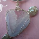 Quartz and Baroque pearl pendant